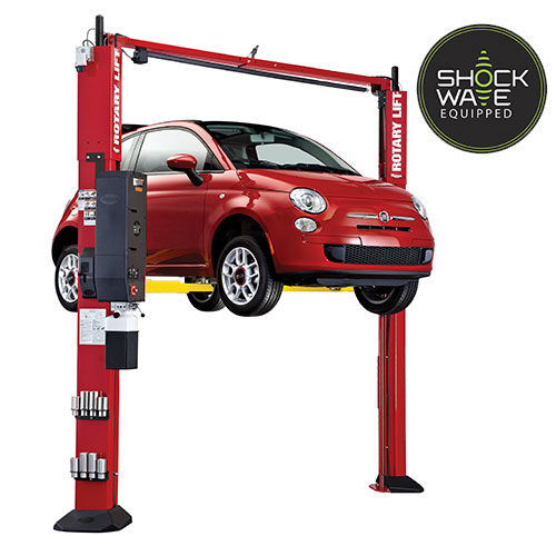 Rotary Two-Post Auto Lift (10,000lbs.-Capacity Asymmetric, Shockwave Equipped, Low Profile Arms) - SPOA10SW-TRIO-TA