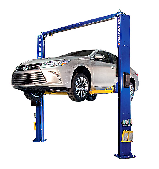 Rotary Two-Post Auto Lift (10,000lbs.-Capacity Asymmetric, 2' Extended) - R-SPOA10-TA-EH2