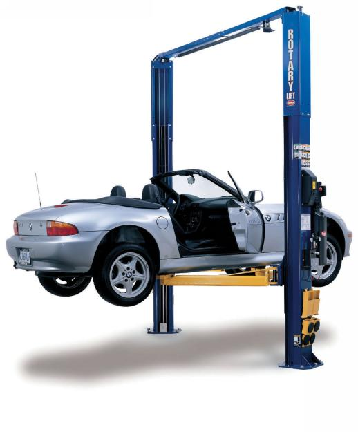 Rotary Two-Post Auto Lift (10,000lbs.-Capacity Asymmetric, 2' Extended) - R-SPOA10-EH2