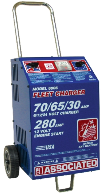 Associated 6/12/24V Wheeled Heavy-Duty Fleet Charger (70/65/30 Amps) - ASO-6006