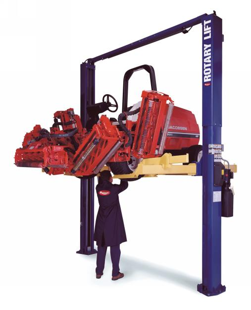 Rotary Two-Post Turf Vehicle Lift (7000lbs.-Capacity Asymmetric, 4' Extended) - R-TLO7-EH4